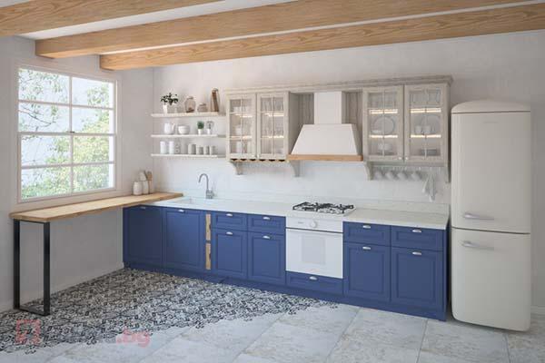 Ретро кухня Даяна в синьо и естествен дъб