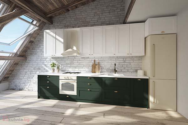 Права кухня Кала в бяло и зелено