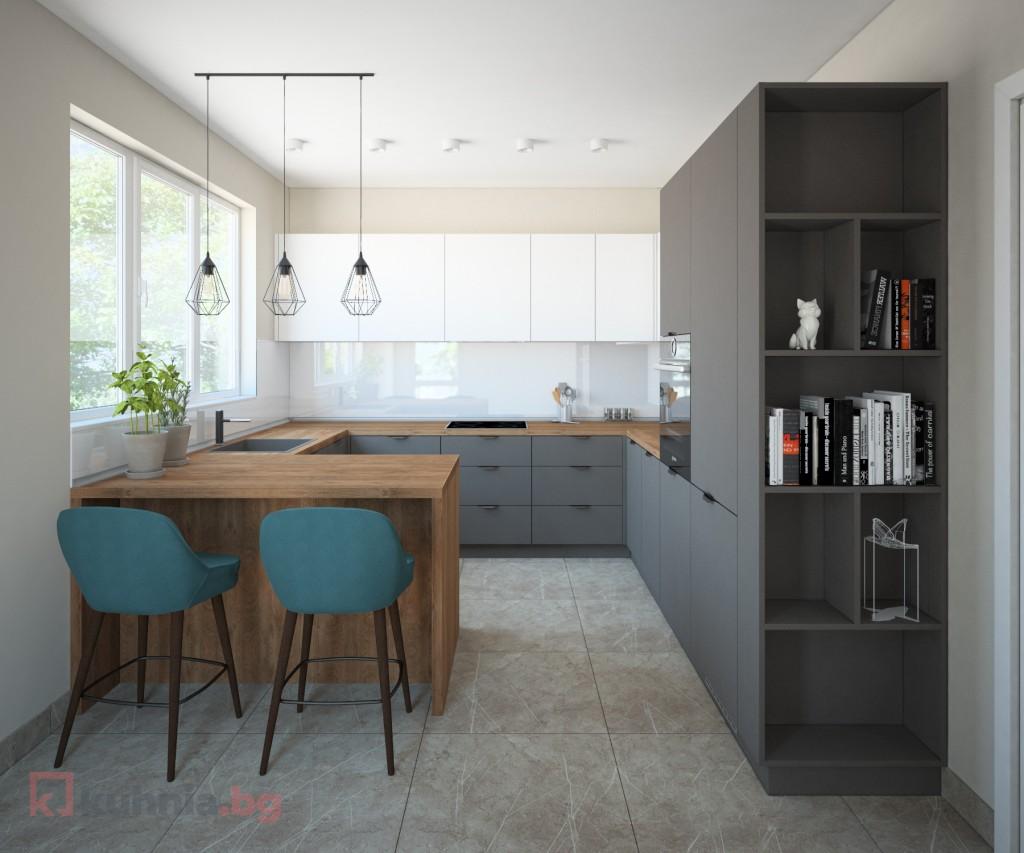 П-образна кухня Лора с полуостров и отворени елементи