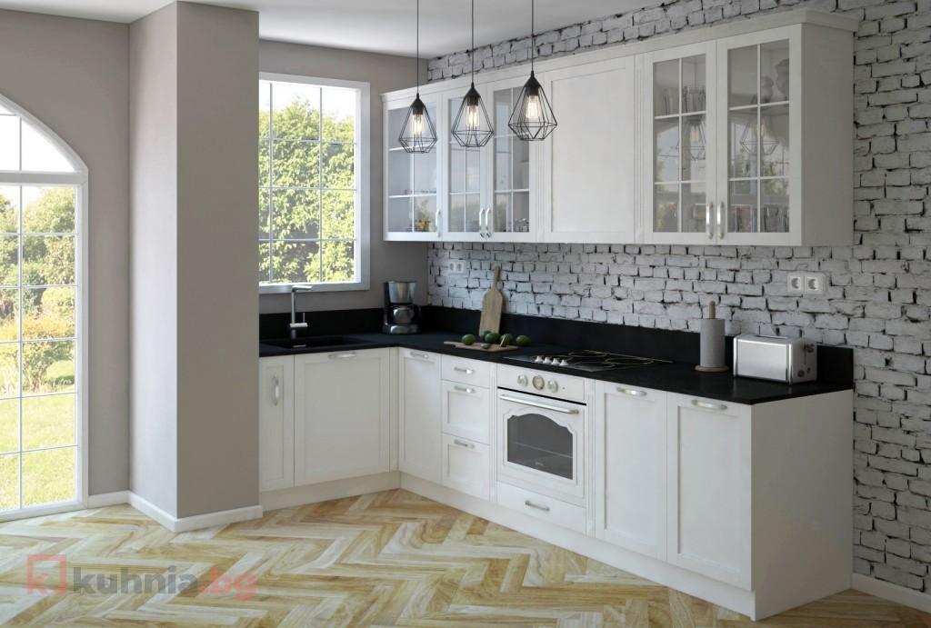 Ъглова кухня в бяло и черно