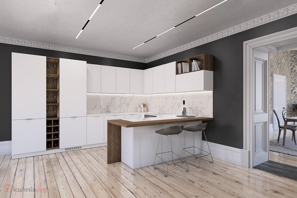 П-образна кухня в бяло с отворени елементи