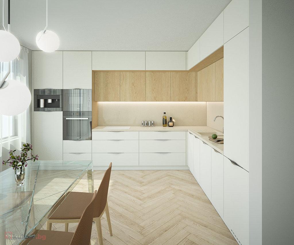 Бяла кухня в рамка