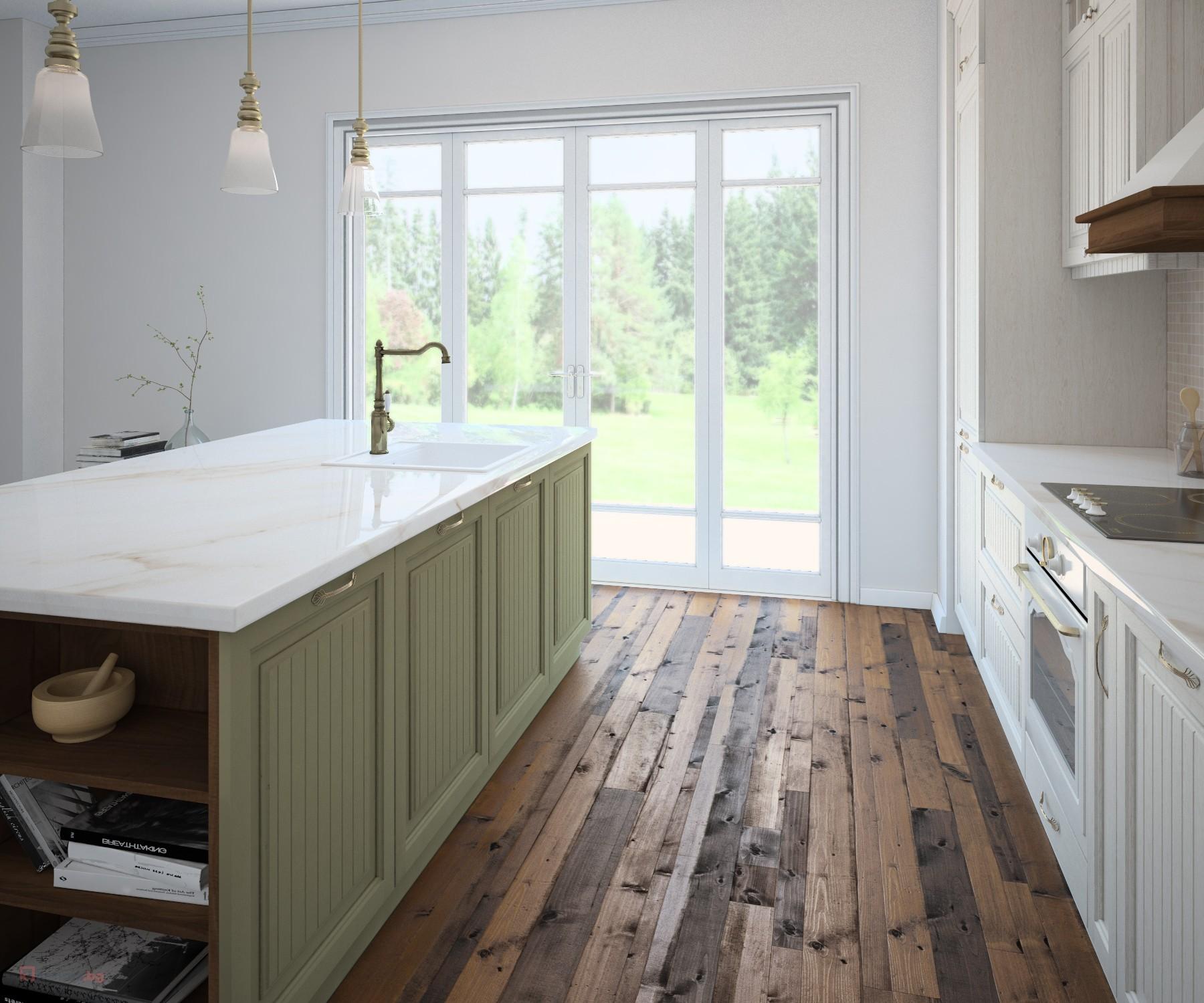 салвия цвят на кухненски шкафове