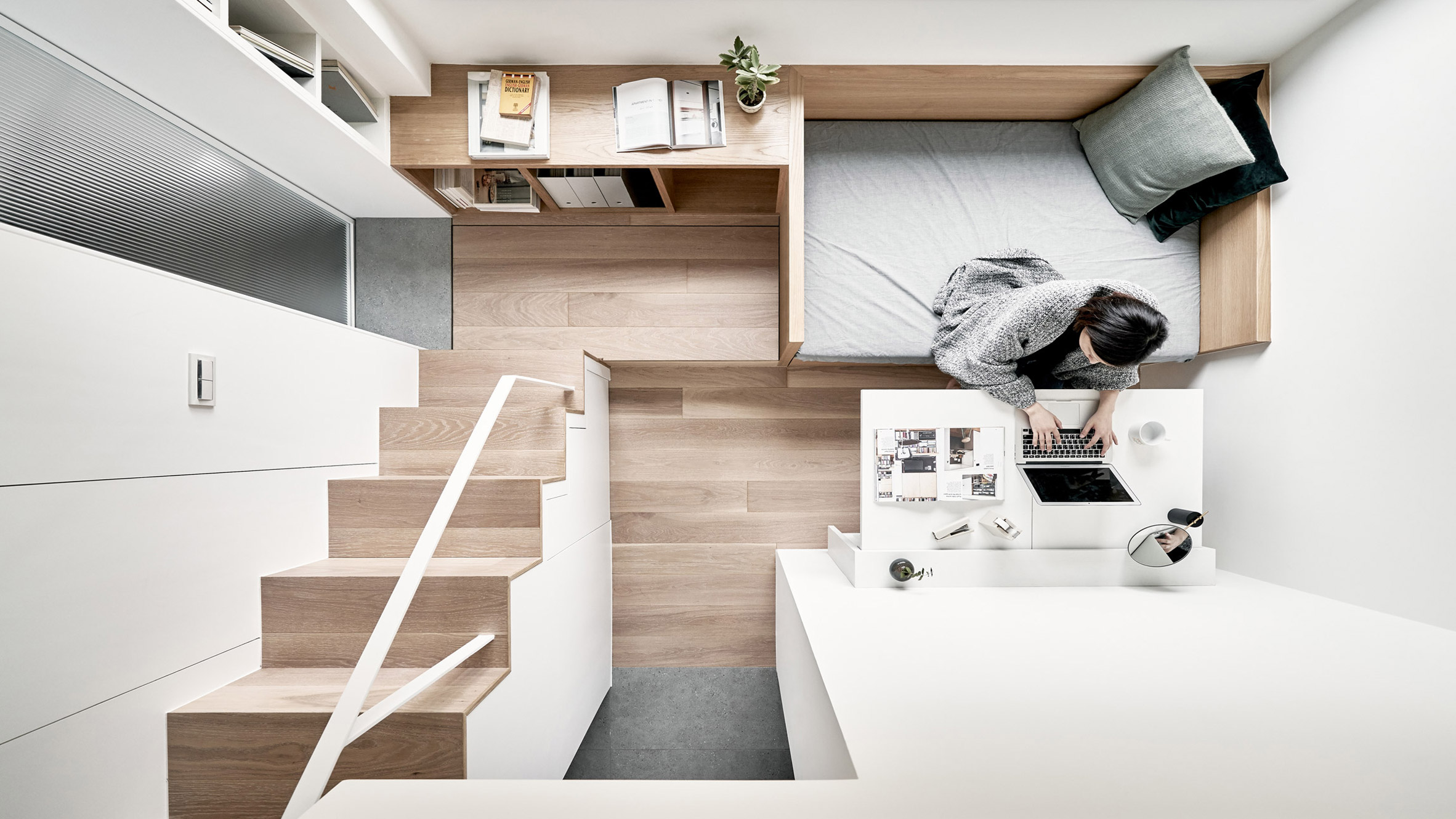 Микро апартамент в Тайван е обзаведен с вградени мебели