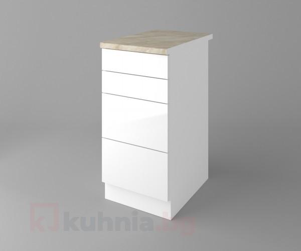 Долен кухненски шкаф с четири чекмеджета Нарцис гланц