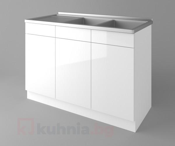 Долен кухненски шкаф с двукоритна мивка Нарцис гланц