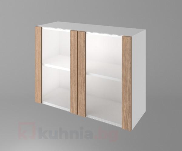 Горен кухненски шкаф с две врати за стъкло Поларис