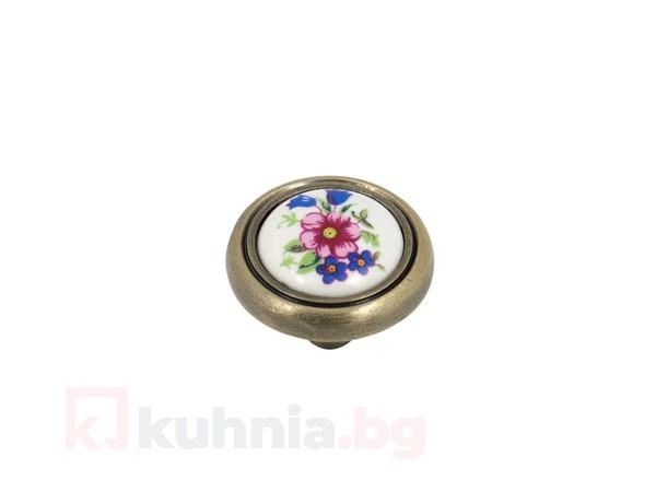Метална дръжка с керамика - синьо цвете 3350
