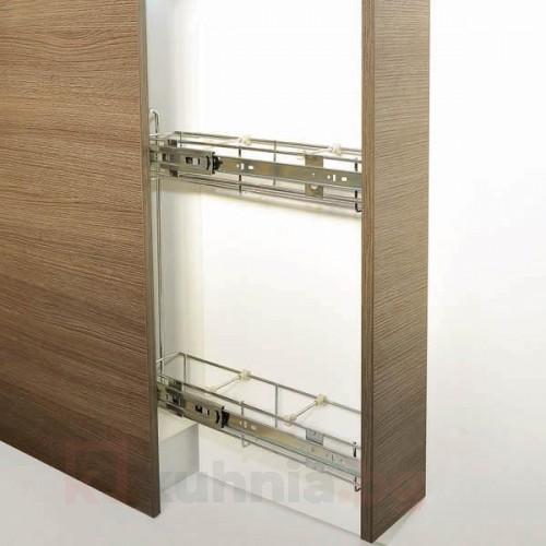 Кошница странично водене, с плавно прибиране, скрит водач - за шкаф 150, 200 мм