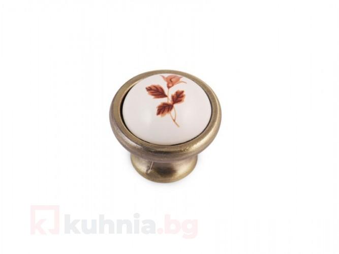 Метална ретро дръжка кафяво цвете 8252