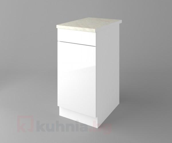 Долен кухненски шкаф с чекмедже и една врата Нарцис гланц