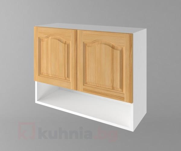 Горен кухненски шкаф с две врати и ниша Астра - Натурална