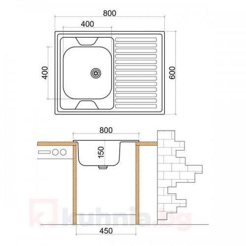 Мивка с плот и борд LIVINOKS - 800х600х150мм