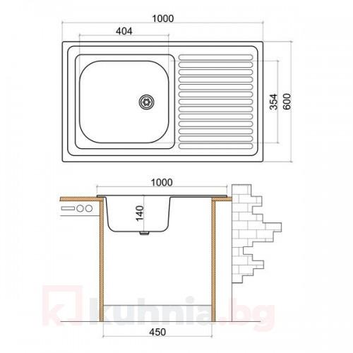 Мивка с плот LIVINOKS -1000х600х140мм