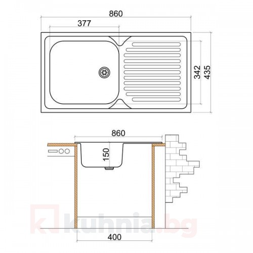 Стоманена мивка с плот 860х435х150 мм