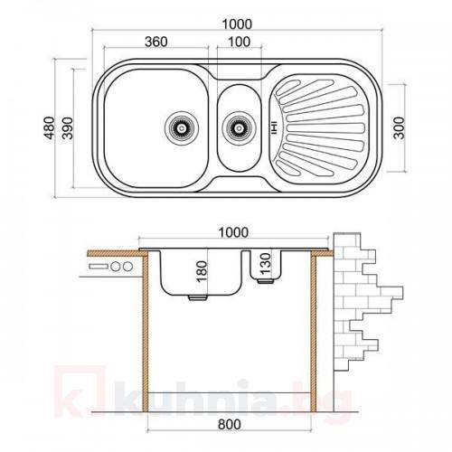 Стоманена мивка с плот и отцедник 1000х480х180 мм