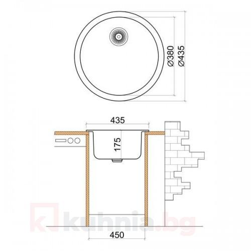 Мивка кръгла LIVINOKS 435х175мм