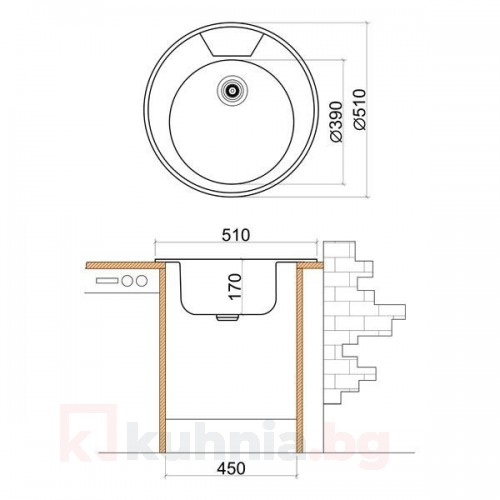 Мивка кръгла LIVINOKS 510х170мм