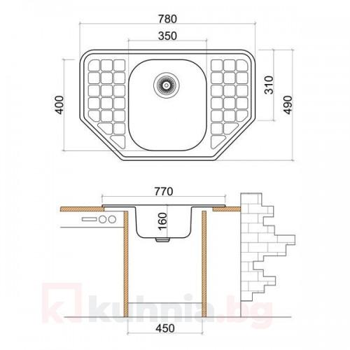 Мивка ъглова LIVINOKS 780х490х160мм