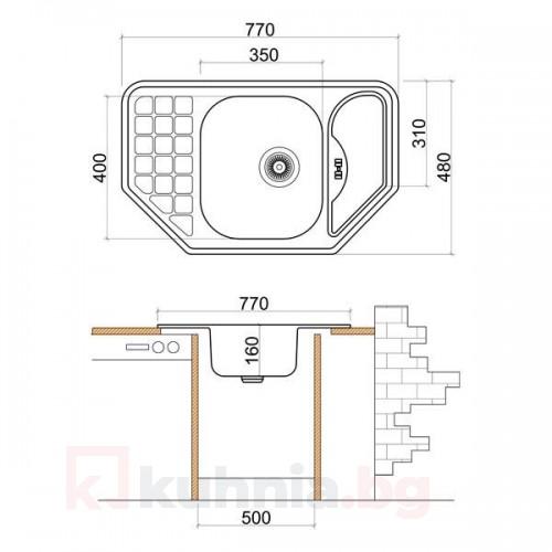 Мивка ъглова LIVINOKS 770х480х160мм