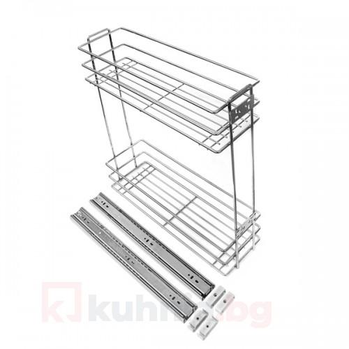 Кошница странично водене, с плавно прибиране - за шкаф 250 мм