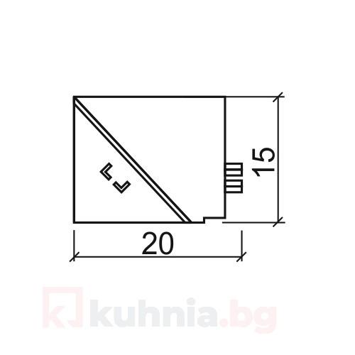Вътрешен ъгъл за водобранна лайстна 07VA.223.1