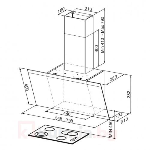 Вертикален аспиратор PRIORITY A55/Черно стъкло