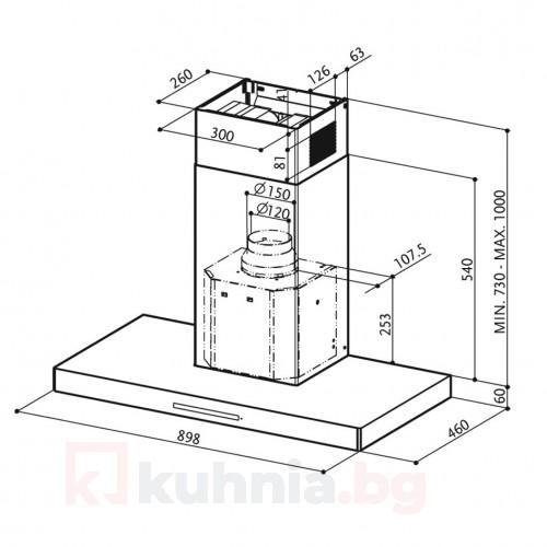 Декоративен аспиратор  LOOK BRS X/V A90 Еurolux