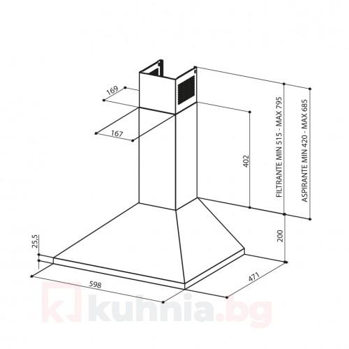 Декоративен аспиратор  VALUE A60 PB X