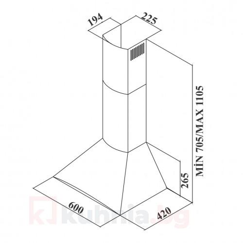 Декоративен абсорбатор ARC 60E X /инокс/
