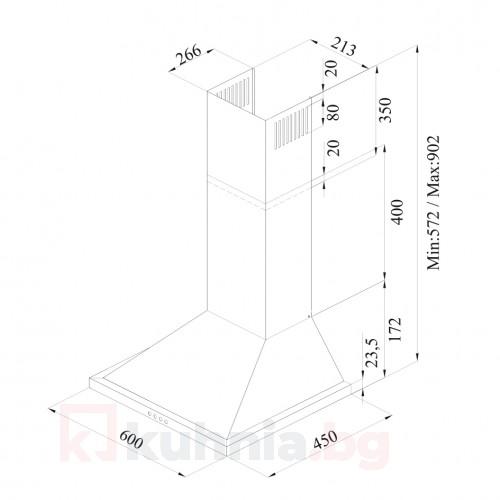 Декоративен аспиратор ONE 60 PB X /инокс/