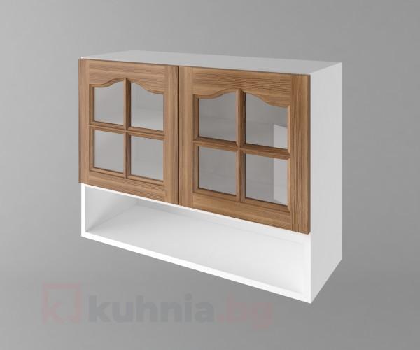 Горен кухненски шкаф с две врати за стъкло и ниша Астра - Канела