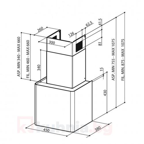Аспиратор с кубична форма LITHOS CONCRETE FABER
