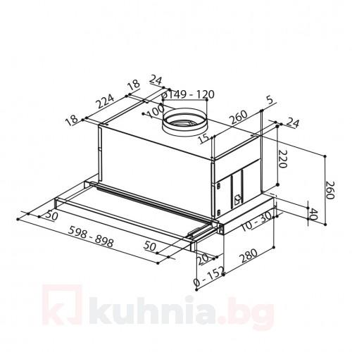 Телескопичен аспиратор за вграждане MAXIMA Touch