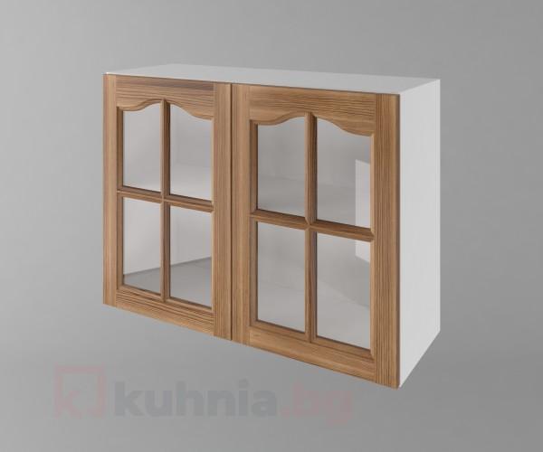 Горен кухненски шкаф с две врати за стъкло Астра - Канела