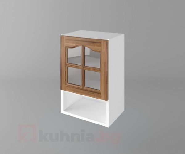 Горен кухненски шкаф с една врата за стъкло и ниша Астра - Канела