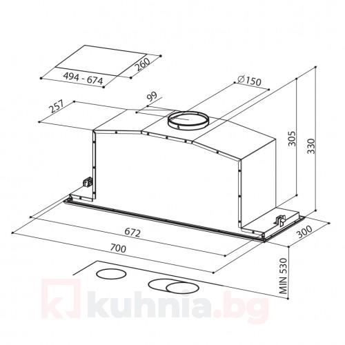 Аспиратор за пълно вграждане INCA LUX GLASS A70