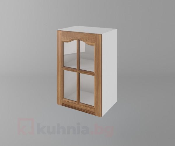 Горен кухненски шкаф с една врата за стъкло Астра - Канела