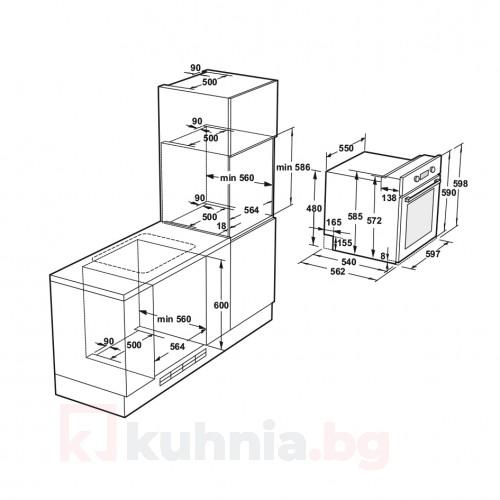 Фурна за вграждане  FVS 9EPBCT1 XS / W - Бяло стъкло / Инокс Eurolux