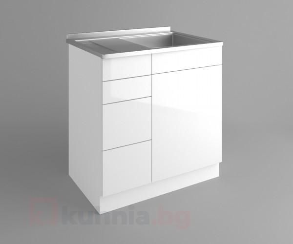 Долен кухненски шкаф с мивка - с четири работещи чекмеджета Нарцис гланц