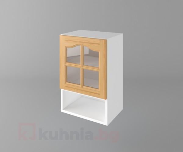 Горен кухненски шкаф с една врата за стъкло и ниша Астра - Натурална