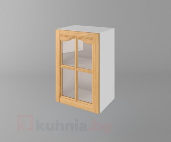 Горен кухненски шкаф с една врата за стъкло Астра - Натурална