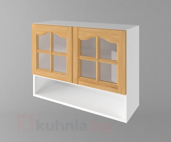 Горен кухненски шкаф с две врати за стъкло и ниша Астра - Натурална
