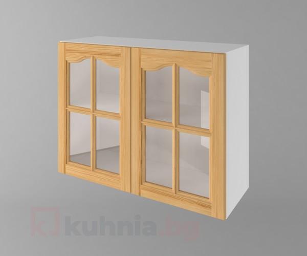 Горен кухненски шкаф с две врати за стъкло Астра - Натурална
