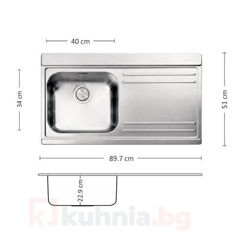 Мивка за вграждане VERSO 90.1 R/L TI