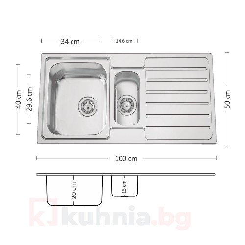 Мивка за вграждане TITAN 100.2 TI