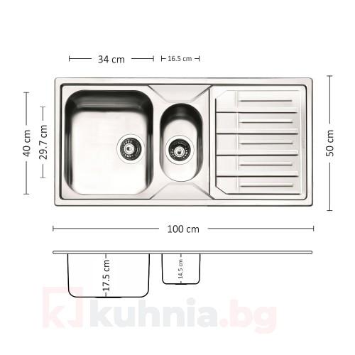 Мивка за вградждане  MELODIA 100.2 TI
