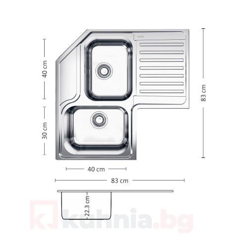 Мивка за вграждане ANGOLO PLUS 83.2 SI