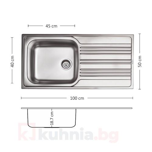 Мивка за вграждане BOWL BB 100.1 SI