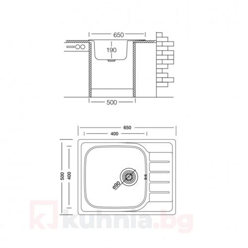 Мивка за вграждане COMPACT BB 65.1 SI